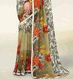 CREAM & MEHENDI PRINTED GEORGETTE SAREE RTNK5808