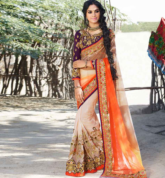 MARRIAGE COLLECTION SAREE PATTERNS FOR THE BLOUSE WITH IMAGES IRRESISTIBLE ORANGE AND CREAM NET AND GEORGETTE WEDDING COLLECTION SARI WITH WONDERFUL BLOUSE