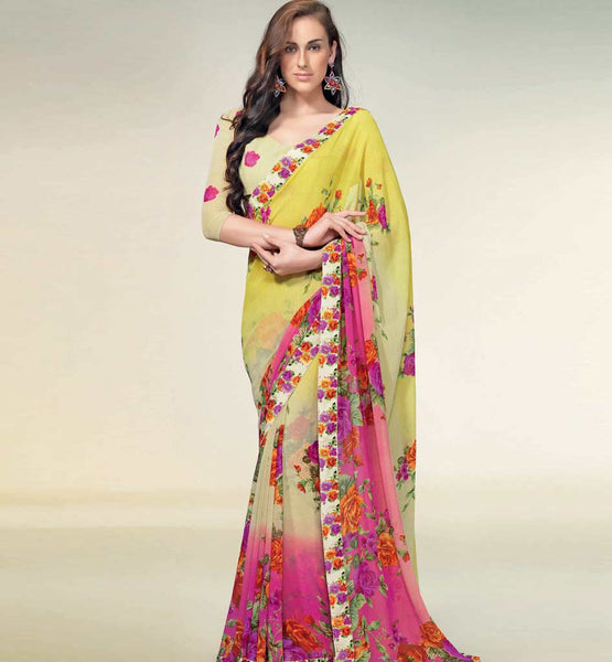 BEWITCHING YELLOW & PINK CREAM GEORGETTE SAREE RTNK5811