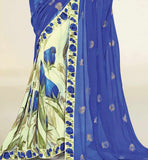 FANTASTIC BLUE & CREAM GEORGETTE SAREE RTNK5812