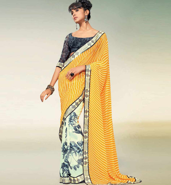 OUTSTANDING ORANGE & CREAM GEORGETTE SAREE RTNK5814