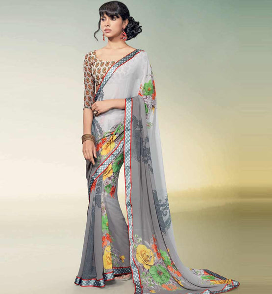 CHARMING GREY GEORGETTE SAREE RTNK5816