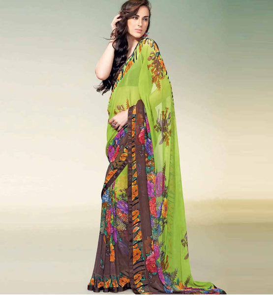 GREEN PRINTED GEORGETTE CASUAL SAREE RTNK5819