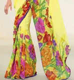 YELLOW PRINTED GEORGETTE CASUAL SAREE RTNK5820