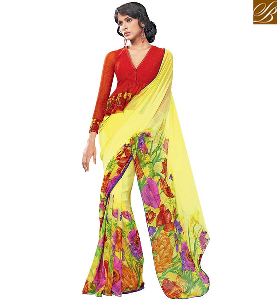 PLEASING YELLOW SAREE WITH MAROON BLOUSE RTKUN5820 BY STYLISH BAZAAR