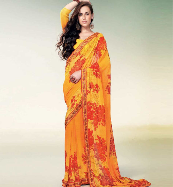 ORANGE PRINTED CHIFFON CASUAL SAREE RTNK5824