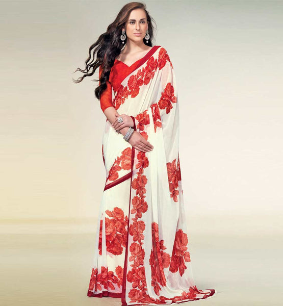 FASCINATING CREAM MARBLE CHIFFON SAREE RTNK5825