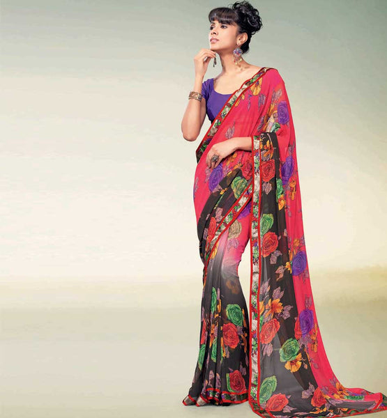 GORGEOUS RED & BLACK PRINTED GEORGETTE SAREE RTNK5826