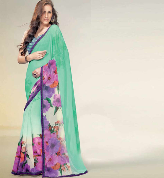 GREEN CHIFFON PRINTED SAREE