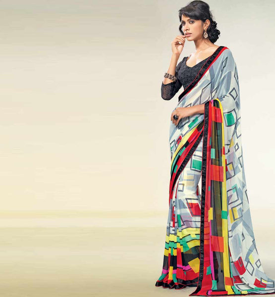 RAVISHING CREAM PRINTED GEORGETTE SAREE RTNK5833
