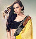 YELLOW & GREY PRINTED GEORGETTE SAREE RTNK5834