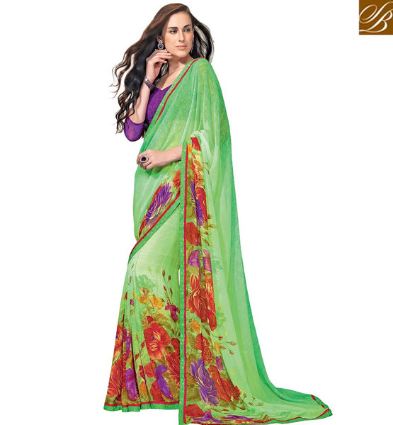 STYLISH BAZAAR INTRODUCES STUNNING GREEN SAREE FOR PARTIES RTKUN5835