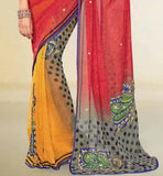 ORANGE & MAROON PRINTED GEORGETTE SAREE RTNK5837