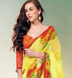 BOLD YELLOW PRINTED GEORGETTE SAREE RTNK5840