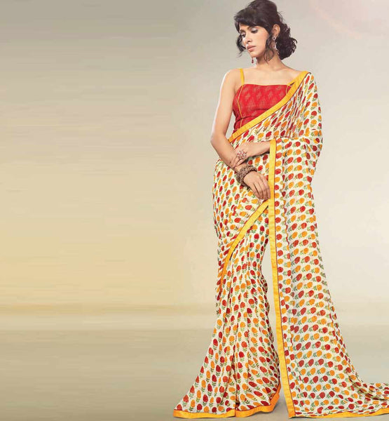 AESTHETIC CREAM PRINTED GEORGETTE SAREE RTNK5841