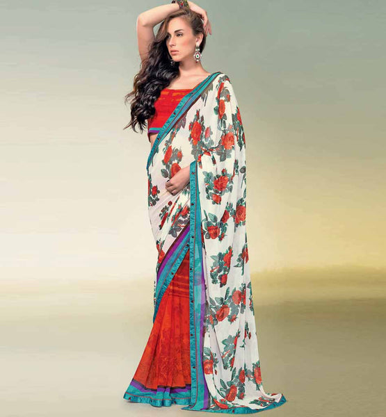 OFF-WHITE & MAROON PRINTED SAREE RTNK5843