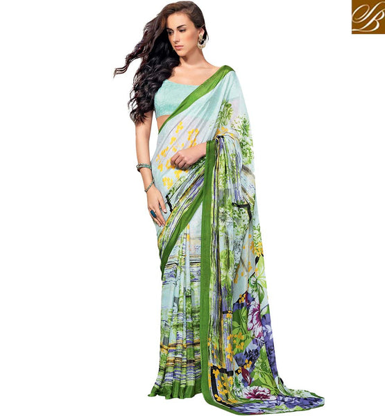 FASHIONABLE DESIGNER SAREE FOR PARTES RTKUN5844 BY BLUE