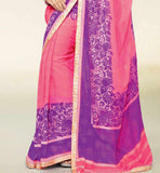 PEPPY PINK & PURPLE GEORGETTE SAREE RTNK5845