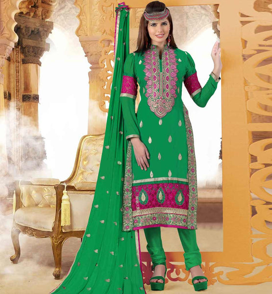 PARTY WEAR SALWAR KAMEEZ ONLINE SHOPPING IN INDIA GREEN COTTON & NET