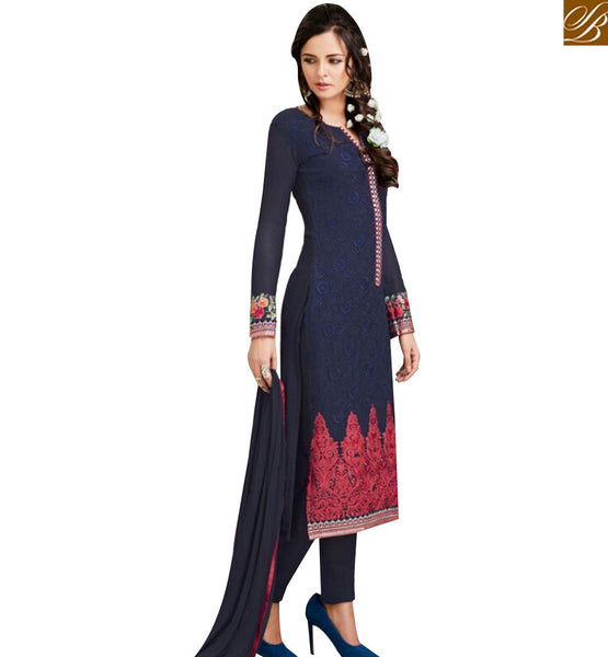 STYLISH BAZAAR DAZZLING NAVY BLUE GEORGETTE STRAIGHT CUT SALWAR KAMEEZ WITH MAROON EMBROIDERY WORK MJSYB58