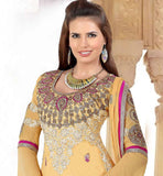 PARTY WEAR SALWAR KAMEEZ ONLINE SHOPPING IN INDIA CREAM COTTON & NET
