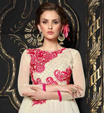 EXCELLENT NET OFF-WHITE GOWN WITH EMBROIDERY AT NEVER BEFORE PRICES
