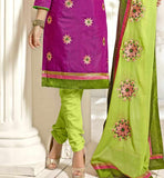 DARK PINK CASUAL WEAR CHANDERI COTTON SALWAR KAMEEZ WITH DUPATTA VDANT7005