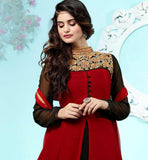 BLACK & MAROON PARTY WEAR GEORGETTE ANARKALI DRESS SHOP ONLINE