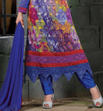 BUY ONLINE EMBROIDERED & PRINTED PARTY WEAR GEORGETTE SALWAR SUIT  BLUE