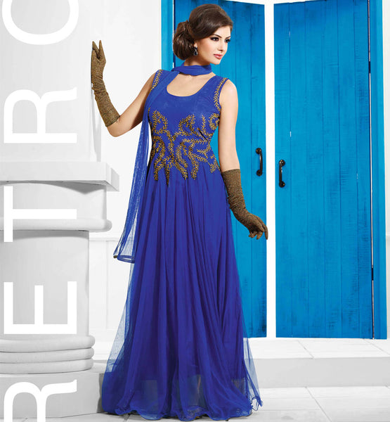BEAUTIFUL BLUE FLOOR LENGTH EVENING WEAR GOWN FROM STYLISHBAZAAR VDDVN5