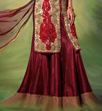 DIA MIRZA MAROON SILK LEHENGA WITH CREAM NET CHOLI