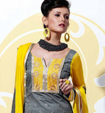Grey Cotton salwar kameez with Yellow dupatta