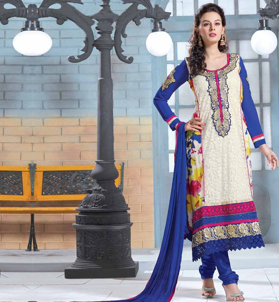 KARACHI STYLE LONG STRAIGHT SALWAR KAMEEZ EMBROIDERY ON SLEEVES