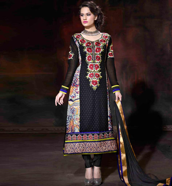 NEW 2015 DESIGN STRAIGHT CUT EMBROIDERED NECKLINE SALWAR KAMEEZ
