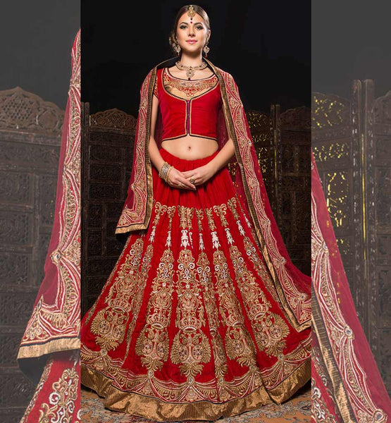 BRIDAL WEAR LEHENGA CHOLI SUIT 2015 COLLECTION DESIGNER DRESS RED VELVET RAJWADI GHAGHRA BLOUSE FOR DULHANS Desi brides