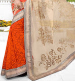 DESIGNER WEDDING WEAR SAREE WITH SEQUIN BUY ONLINE CREAM & ORANGE