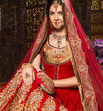 Desi brides always want to Look the best and extra-ordinary on the biggest day of life.  Exciting zari, cotton thread work, stonework, Motiwork (beads), cut bead work, Applique, lace and patch border work embroide red Net dupatta bridal lehengas online shopping