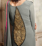 PARTY WEAR GEORGETTE STRAIGHT SALWAR KAMEEZ WITH CHIFFON DUPATTA & SANTOON SALWAR