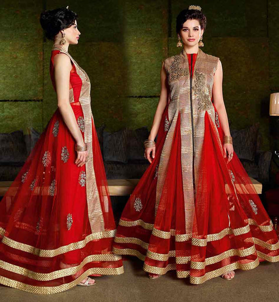 STYLISH BAZAAR EXCITING GOWN STYLE ANARKALI DRESS RAVISHING RED NET DRESS WITH SANTOON DRESS AND CHIFFON DUPATTA