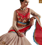 BROUGHT TO YOU BY STYLISH BAZAAR MAJESTIC CREAM AND MAROON SAREE MATCHED WITH A DESIGNER BLOUSE  ANRA60