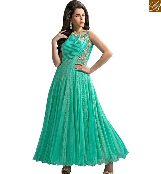 STYLISH BAZAAR MARVELLOUS SKY BLUE GEORGETTE NET ANARKALI SALWAR KAMEEZ HAVIENG LIGHT EMBROIDERY ABYSW6000