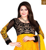 YELLOW AND BLACK NET TOP WITH SANTOON BOTTOM AND CHIFFON DUPATTA MATCHING THREAD WORK IS DONE ALL OVER THE TOP WITH STONE WORK, GOLDEN EMBROIDERY ON YOKE PORTION AND CONTRAST DESIGNING ON SLEEVES