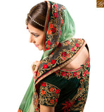 FROM STYLISH BAZAAR FETCHING DARK GREEN COLORED DESIGNER WEDDING WEAR LEHENGA CHOLI RTHYB6001