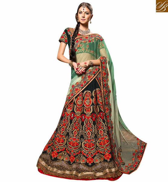 STYLISH BAZAAR FETCHING DARK GREEN COLORED DESIGNER WEDDING WEAR LEHENGA CHOLI RTHYB6001
