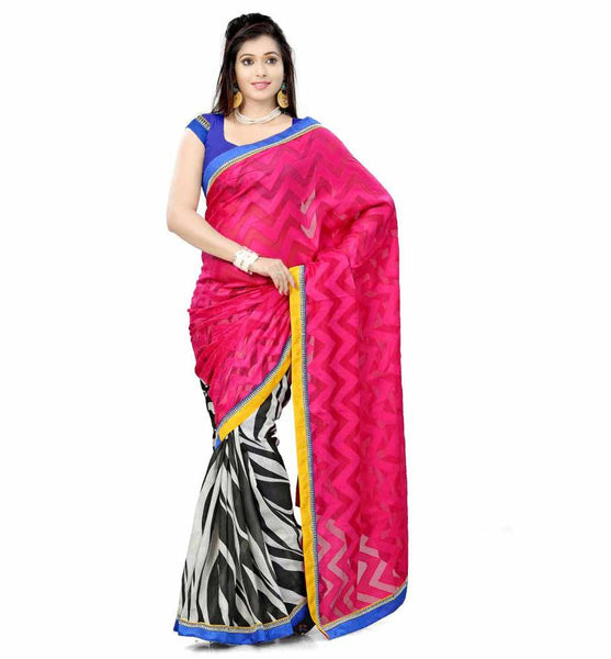 DESIGNER PINK AND OFF-WHITE SEMI CASUAL SAREE RTTV6001