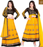 2 IN 1 LEHENGA CHOLI OR ANARKALI SALWAR SUIT VDNIH6001 YELLOW AND BLACK NET TOP WITH SANTOON BOTTOM AND CHIFFON DUPATTA