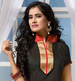 BLACK CHANDERI COTTON CORPORATE DRESS WITH RED SALWAR & DUPATTA