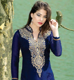 LOVELY BLUE STRAIGHT STYLE KAMEEZ WITH DEEP NECK DESIGN