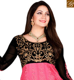PINK & BLACK NET SUIT WITH PINK COLOR SANTOON FABRIC BOTTOM & CHIFFON FABRIC DUPATTA. FLORAL EMBROIDERY WORK ON ALL OVER THE TOP & SLEEVES WITH GOLDEN COLOR EMBROIDERY &  BLACK COLOR VELVET BORDER AT BELOW OF TOPDUAL IDENTITY CHANIYA CHOLI OR ANARKALI DRESS