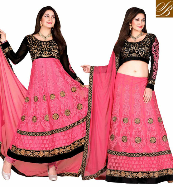 DUAL IDENTITY CHANIYA CHOLI OR ANARKALI DRESS  PINK & BLACK NET SUIT WITH PINK COLOR SANTOON FABRIC BOTTOM & CHIFFON FABRIC DUPATTA